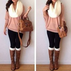 so Cute love the pink sweater, and the white detailing in the socks and scarf to pull it all together