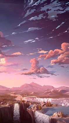 Find the best Anime Nature Wallpaper on GetWallpapers. We have background pictures for you! Iphone Wallpaper Landscape, Aesthetic Desktop Wallpaper, Anime Scenery Wallpaper, Aesthetic Backgrounds, Wallpaper Backgrounds, Natur Wallpaper, Painting Wallpaper, Sky Painting, Fantasy Art Landscapes