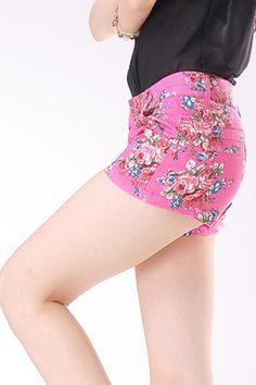 #Romwomen Chic Candy Color Floral Print Shorts