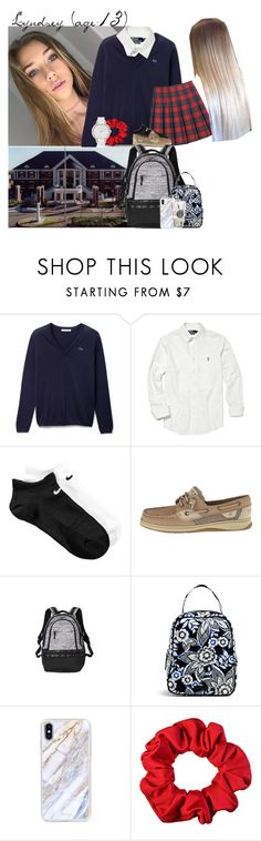 """Lyndsey // 1-4-17 // School ☺️"" by dream-familiess ❤ liked on Polyvore featuring Lacoste, Polo Ralph Lauren, NIKE, Sperry, Victoria's Secret, Vera Bradley, The Casery, Olivia Burton and TheTruexFamily"