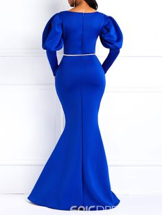 Ericdress Long Gigot Sleeves Mermaid Blue Maxi Dress(Without Waistband), Lace Dress Styles, African Lace Dresses, African Fashion Dresses, Vetement Fashion, Mermaid Dresses, Classy Dress, Elegant Dresses, Evening Dresses, Detachable Collar