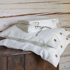 love purity of linen white buttoned sham