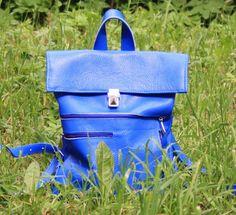 Bleu en cuir sac à dos, womens sac à dos, sac à dos en cuir et daim, sac à dos pour femmes ou enfants, en cuir sac à dos-sac à main, cadeau de Noël