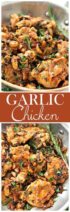Garlic Chicken – Pan-Seared Chicken Thighs prepared in an amazing garlic sauce. Garlic Sauce For Chicken, Chicken Sauce Recipes, Chicken Thigh Recipes, Entree Recipes, Side Dish Recipes, Dinner Recipes, Cooking Recipes, Pan Seared Chicken Thighs, Chicken Breasts