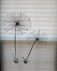 Slate white silver dandelion wish dream romantic original