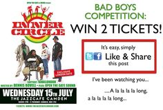 "WIN 2 FREE TICKETS !! For the 1st Time in London in over 10 Years ... Reggae Legends INNER CIRCLE bring their authentic Vintage Reggae Sound to the Historical JAZZ CAFE in Camden, London for ONE NIGHT ONLY Wednesday July 15, 2015 !! We will be performing our new Hit Singles ""We The People"" with Rising Star Kabaka Pyramid and ""News Carrying Dread"" featuring the Young Lion Chronixx plus our classics ""Bad Boys"" ""Sweat"" & many more !! For your chance to win the FREE TICKETS, all you have to do…"