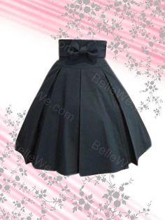 Mini jupe gothique en coton noire drapé noeud à deux boucles - Bellewe.com