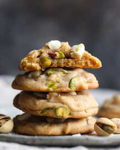 Salted Honey Pistachio Cookies: Soft cookies with browned butter while sea salt, honey, & salted pistachios to boost the sweet/salty combo! These are FANTASTIC!