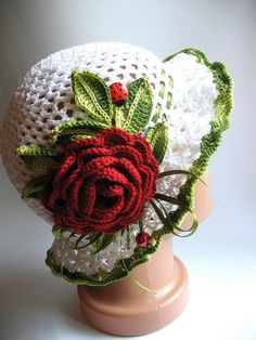 Cotton Hat Brim in White with Dark Red Rose