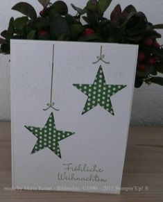 made by Maria Reiser - Bildrechte: – 2013 Stampin'Up! ® (Minutes Made) Christmas Card Crafts, Homemade Christmas Cards, Christmas Tree Cards, Christmas Printables, Xmas Cards, Christmas Art, Homemade Cards, Handmade Christmas, Holiday Cards