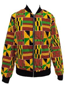 African Kente Print Bomber Jacket – N'omose Couture African Wear Dresses, Latest African Fashion Dresses, African Print Fashion, African Attire, African Clothing Stores, African Inspired Clothing, Moda Afro, African Shirts For Men, Ankara Jackets