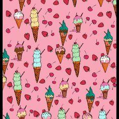Ice cream wallpaper pink  . . . #wallpaper #design #home #pattern #deco #icecream #illustration #pendrawing #photoshop #fruit #colour #bold #design #interior #bedroom #food #shop