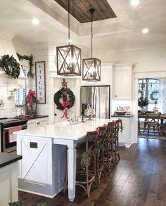 Farmhouse Style Kitchen, Modern Farmhouse Kitchens, Home Decor Kitchen, Rustic Kitchen, Kitchen Furniture, New Kitchen, Kitchen Ideas, Kitchen Inspiration, White Kitchens