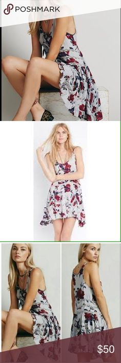 Free People Trapeze Floral Dress Free people colorful trapeze dress  Great color combinations to add to you trapeze collection Free People Dresses Midi