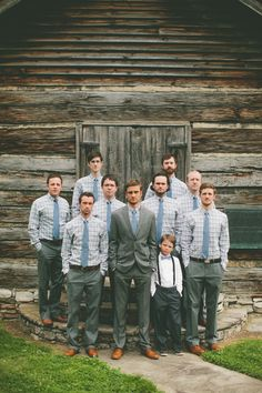 Groomsmen in J. Crew. Groom in Banana Republic and J. Crew.