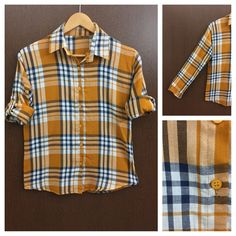 Hurry before stock runs out: Checked - Blue Wh..., visit http://ftfy.bargains/products/checked-blue-white-mustard-yellow-check-shirt?utm_campaign=social_autopilot&utm_source=pin&utm_medium=pin  #amazing #affordable #fashion #stylish