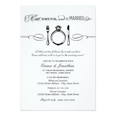 Black Rehearsal Dinner | Eat Drink And Be Married Card