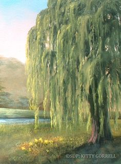 How To Paint A Weeping Willow Tree STEP By Amy