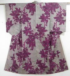 This is a fascinating vintage Meisen Kimono with plant pattern, which is woven.