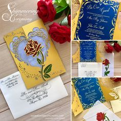 This is our beauty and the beast inspired princess rose wedding gatefold invitation. It is cut with so that the iconic beautiful rose surrounded by elegant scrolls create a gate for your custom invitation. It's the perfect invitation for that princess inspired wedding or event.Sample invitations are printed with a stock basic printing.Interior papers are custom designed and printed to your specifications. We have the ability to print white ink on dark colored stocks at no additional charge…