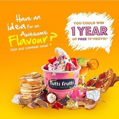 """@tuttifrutticanada's photo: """"THE Greatest Flavour EVER Contest! We looking to our fans for help to create the greatest flavour EVER! Win a year's worth of Tutti Frutti Frozen Yogurt Froyo! and a flavour named after you! -- How to enter: 1. Repost with hashtag #TFforaYear with your flavour idea. 2. Visit www.TFforaYear.com and fill out the form to Enter to Win. ( link in bio ) -- Good Luck! Contest closes: April 30, 2016"""""""