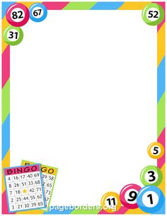 Printable bingo border. Use the border in Microsoft Word or other programs for creating flyers, invitations, and other printables. Free GIF, JPG, PDF, and PNG downloads at http://pageborders.org/download/bingo-border/