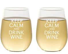 Keep Calm and Carry On / Etched Stemless Wine Glasses / Set of