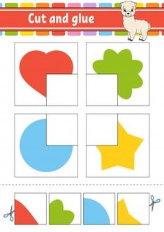 Cut and glue game for kids Premium Vecto. Color Worksheets For Preschool, Kindergarten Math Worksheets, Preschool Printables, Preschool Learning Activities, Free Preschool, Book Activities, Color Puzzle, Puzzle Games For Kids, Shapes For Kids