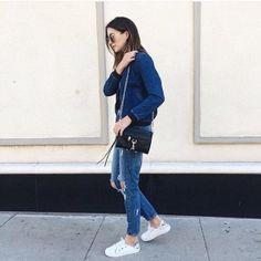 Denim bomber on denim Street Chic, Street Style, Rebecca Minkoff, Mom Jeans, Normcore, Denim, Instagram Posts, Clothes, Outfits
