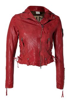 a red leather jacket is a nice pop color if u wear all black