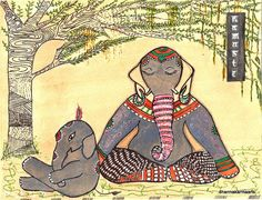 Namaste Yoga Art Elephant Painting Lotus Pose Zen Doodle Art Print