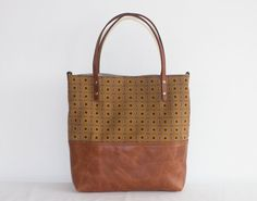 The Ana Tote \\ Brown Leather Tote Bag with yellow Shweshwe print