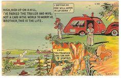 Mountain Travel Trailer Park Camp Vintage 1937 Curteich Linen Comic Postcard | eBay