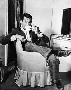 "TeaTime with Cary Grant. ""My formula for life is quite simple. I get up in the morning and I go to bed at night. In between, I occupy myself as best I can."" - Cary Grant"