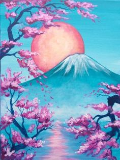 54 Ideas for painting canvas for beginners step by step awesome art Nature Paintings, Beautiful Paintings, Landscape Paintings, Diy Canvas Art, Acrylic Painting Canvas, Genos Wallpaper, Cherry Blossom Painting, Japon Illustration, Spring Painting