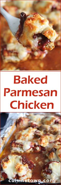Baked Parmesan Chicken, delicious healthy chicken parmesan recipe. Lighter version of classic chicken parmesan with great seasoning; basil, oregano and garlic powder.