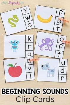 Alphabet Beginning Sounds Clip Cards Beginning sounds clip cards help children learn letters, letter sounds and develop fine motor skills. This literacy center idea is perfect for preschool and kindergarten. Letter Sound Activities, Preschool Learning Activities, Fun Learning, Kindergarten Literacy Activities, Preschool Phonics, Preschool Alphabet, Learning Spanish, Teaching Resources, Teaching The Alphabet