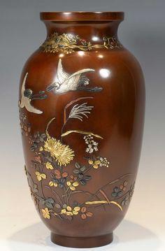 High Quality Japanese Bronze And Mixed Metal Vase By Ikeda Yoshihisa | 479927 | Sellingantiques.co.uk