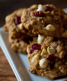 Pumpkin oatmeal white chocolate chip cranberry cookies