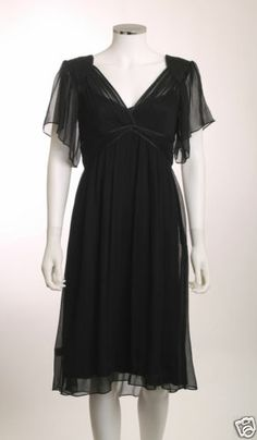 NWT TO THE MAX BUTTERFLY SLEEVE EMPIRE WAIST LINED BLACK CHIFFON DRESS SZ12
