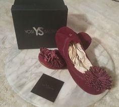 Yosi Samra Women's Sz 8 Rosewood Suede Foldable Ballet Flat Pom Pom GSWA 239-216 #YosiSamra #Rosewood #Casual