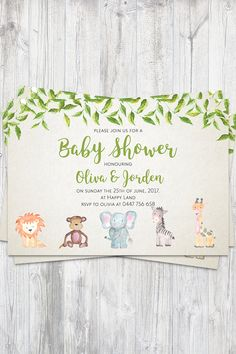 Baby shower invitation boy girl baby animals elephant monkey lion giraffe zebra leaves vines digital print at home customise Giraffe, Elephant Baby, Elegant Baby Shower, Lion Pictures, Baby Shower Invitations For Boys, Party Planning, Etsy Store, Baby Animals, Digital Prints