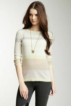 Autumn Cashmere 3/4 Sleeve Striped HI-Lo Cashmere Sweater