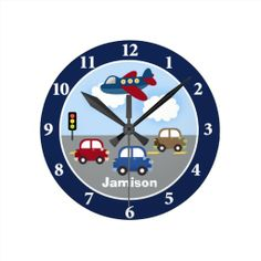 Travel Time Transportation Theme Custom Wall Clock for a child's bedroom - so cute! Personalize with your child's name <3