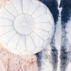 Our White Moroccan Pouf is available online now    #interiors #Scandinavianinteriors #moroccanpouf #whitepouf #home #scandinaviandecor