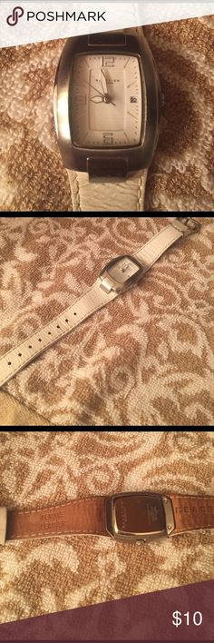 White leather Kenneth Cole Reaction wrist watch White leather Kenneth Cole Reaction wrist watch. Minor wear used condition but much life still ahead, just needs a battery replacement. Kenneth Cole Reaction Accessories Watches