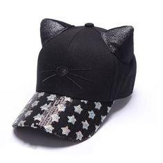 Black cat baseball cap with ears for women Sequins star baseball hats