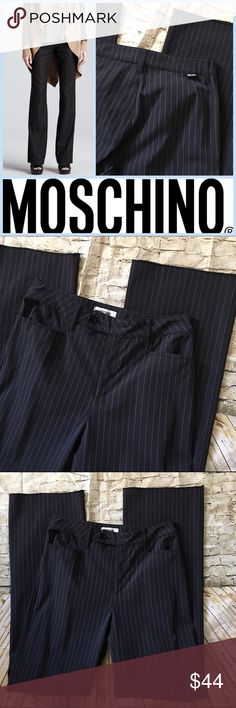 """Moschino Size 10 Raw Hem Pinstripe Pant NWOT My cousin purchased these while traveling abroad and never wore them. They still have the raw edge hem and are waiting to be tailored. They are Moschino size 10 which is an EU sizing - basically they are closer to a 6-8. Fabric is 90% nylon, 10% elastane. Waist measures 14"""" across flat and inseam is 32"""". The color is hard to describe - it's a very deep midnight blue but not quite black. Please feel free to ask any questions. Thank you for looking…"""