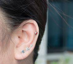 three stars ear pins star earrings 3 stars by karlasdesign on Etsy, $18.50