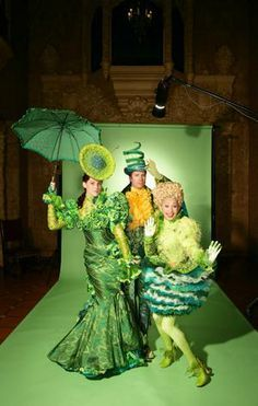 """Wicked Musical costumes - I always loved the scene of """"One Short Day,"""" simply because the costume designs for the citizens of the Emerald City were so splendid and vibrant. Wicked Costumes, Broadway Costumes, Theatre Costumes, Halloween Costumes, Creepy Costumes, Amazing Costumes, Ballet Costumes, Wizard Of Oz Musical, Wicked Musical"""